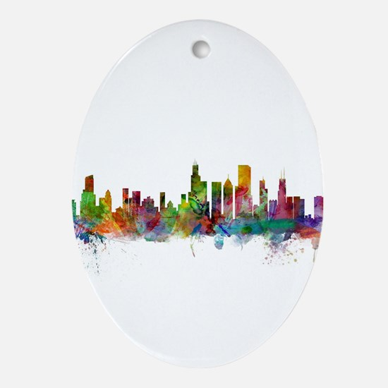 Chicago Illinois Skyline Oval Ornament