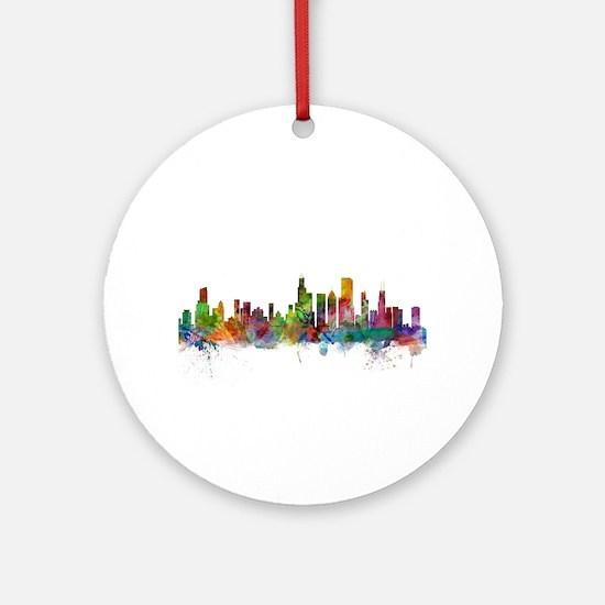 Chicago Illinois Skyline Round Ornament