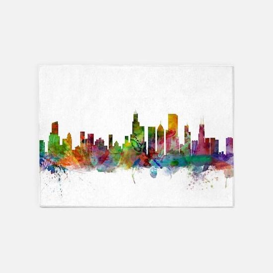 Chicago Illinois Skyline 5'x7'Area Rug