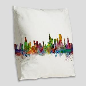 Chicago Illinois Skyline Burlap Throw Pillow