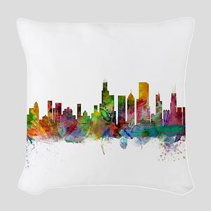 Chicago Illinois Skyline Woven Throw Pillow