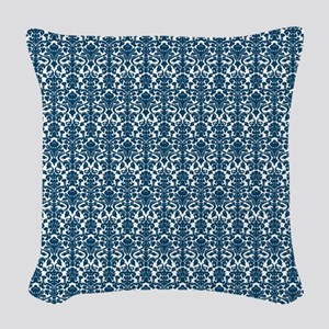 Blue White Damask Pattern Woven Throw Pillow