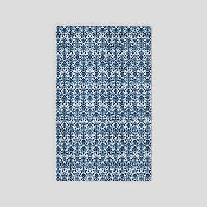 Blue White Damask Pattern 3'X5' Area Rug