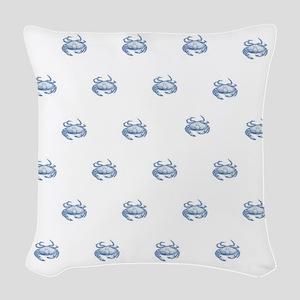 Blue Crab Woven Throw Pillow