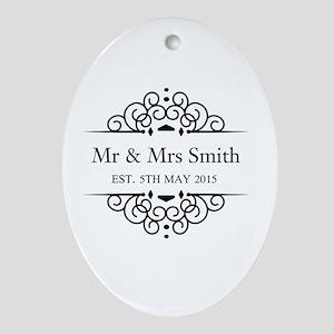 Custom Couples Name and wedding date Ornament (Ova