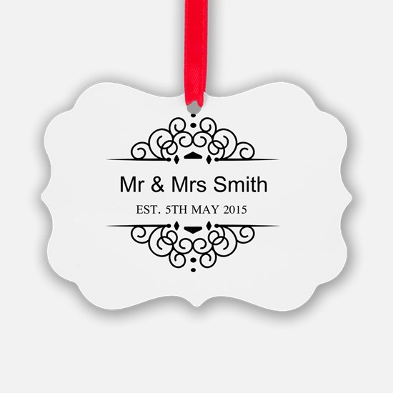 Custom Couples Name and wedding date Ornament