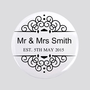 """Custom Couples Name and wedding date 3.5"""" Button"""