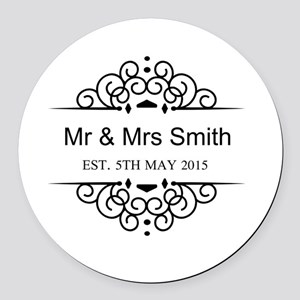 Custom Couples Name and wedding date Round Car Mag
