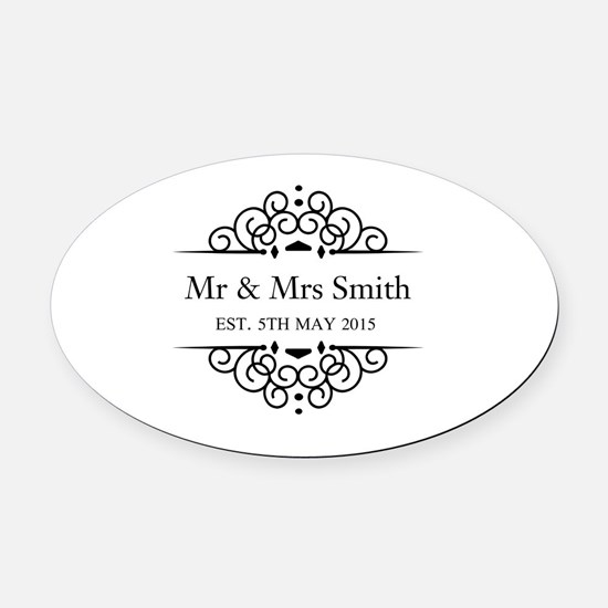 Custom Couples Name and wedding date Oval Car Magn