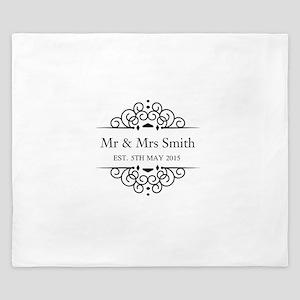 Custom Couples Name and wedding date King Duvet