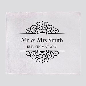 Custom Couples Name and wedding date Throw Blanket