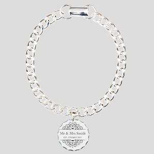 Custom Couples Name and wedding date Charm Bracele