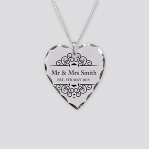 Custom Couples Name and wedding date Necklace Hear