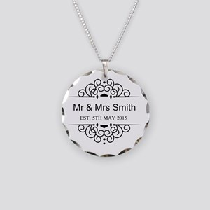 Custom Couples Name and wedding date Necklace Circ
