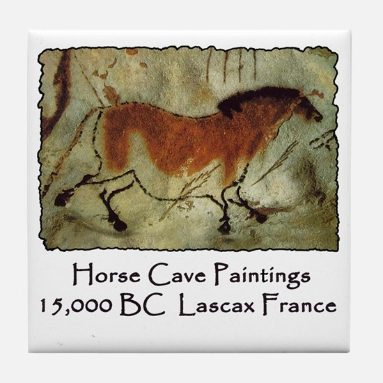 cave horse paintings Tile Coaster