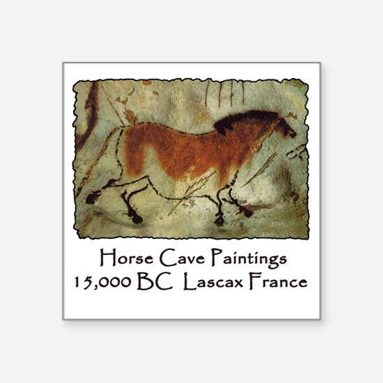 """cave horse paintings Square Sticker 3"""" x 3"""""""