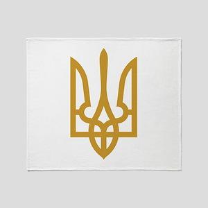Tryzub (Gold) Throw Blanket