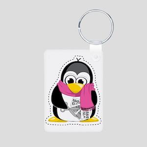 Couponing-Penguin-Scarf Aluminum Photo Keychain