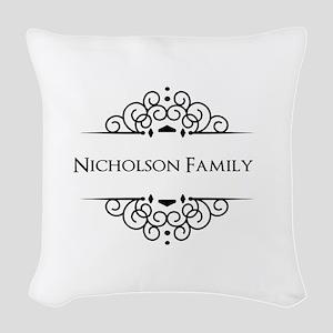 Personalized family name Woven Throw Pillow
