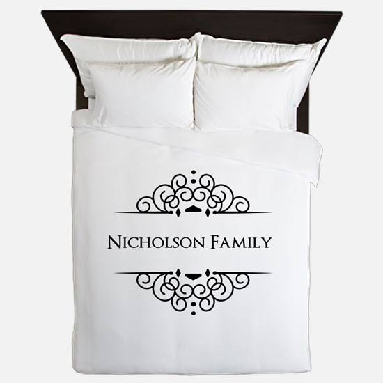 Personalized family name Queen Duvet
