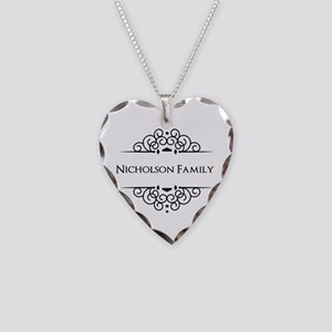 Personalized family name Necklace Heart Charm