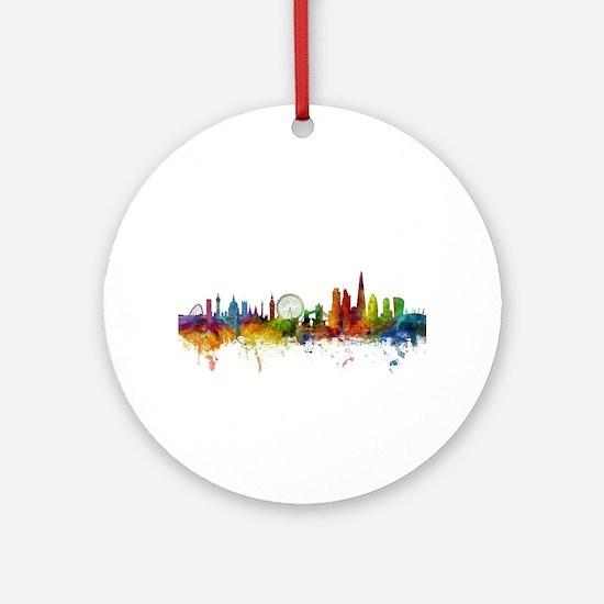 London England Skyline Round Ornament