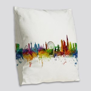 London England Skyline Burlap Throw Pillow