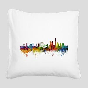 London England Skyline Square Canvas Pillow