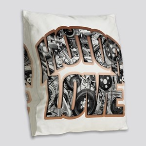 motor love Burlap Throw Pillow