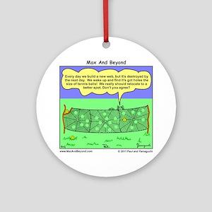 Tennis Court Spider Cartoon Round Ornament