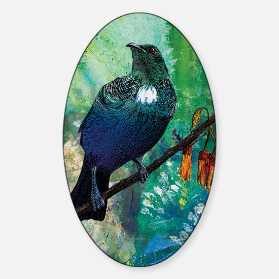 Tui mixed media Sticker (Oval)