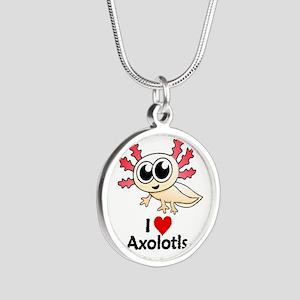 I Love Axolotls Silver Round Necklace