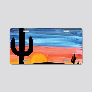 sunset_painting Aluminum License Plate
