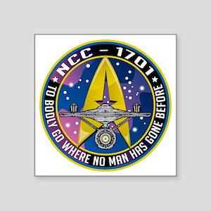 "Enterprise-Patch-To-Bodly-G Square Sticker 3"" x 3"""