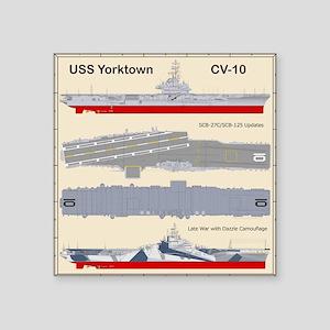"""Essex-Yorktown-Back_3 Square Sticker 3"""" x 3"""""""