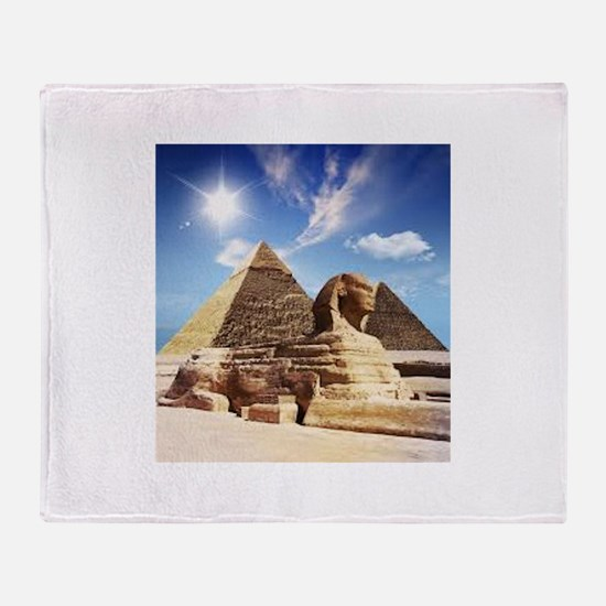 Sphinx and Egyptian Pyramids Throw Blanket