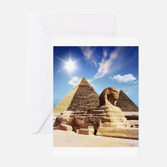 Sphinx and Egyptian Pyramids Greeting Cards