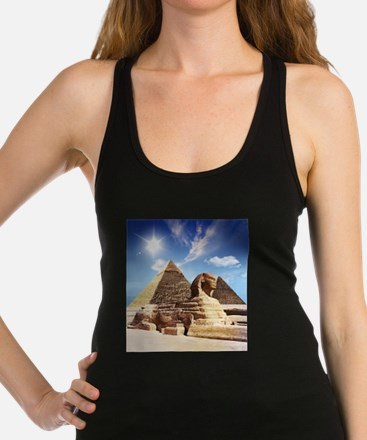 Sphinx and Egyptian Pyramids Racerback Tank Top