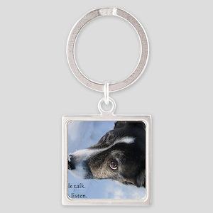 5-11 dogs listen Square Keychain