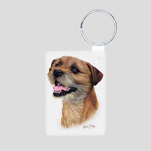 Border Terrier b Aluminum Photo Keychain