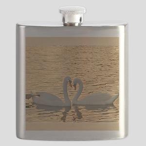 SwansAtSunset_blanket Flask