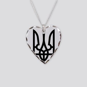 Tryzub (Black) Necklace Heart Charm