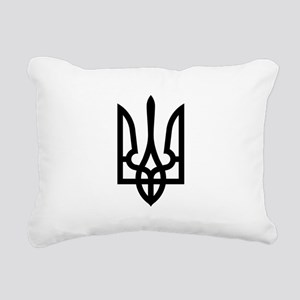 Tryzub (Black) Rectangular Canvas Pillow