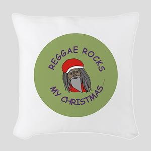 Reggae Rocks My Christmas Woven Throw Pillow