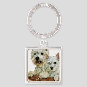 Westie  Pup Square Keychain