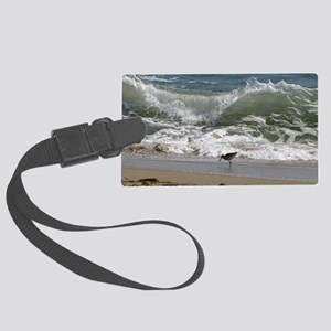 Kill Devil Hills Bird with Wave Large Luggage Tag