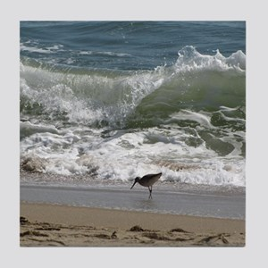 Kill Devil Hills Bird with Wave Tile Coaster