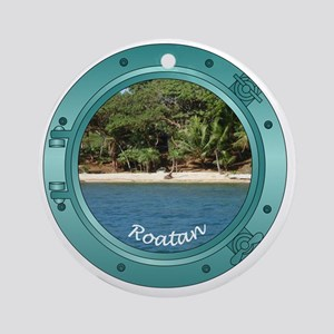 RoatanBeach-Porthole Round Ornament