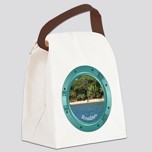 RoatanBeach-Porthole Canvas Lunch Bag