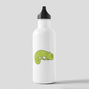 Cute Green Polka Dot Chameleon Water Bottle